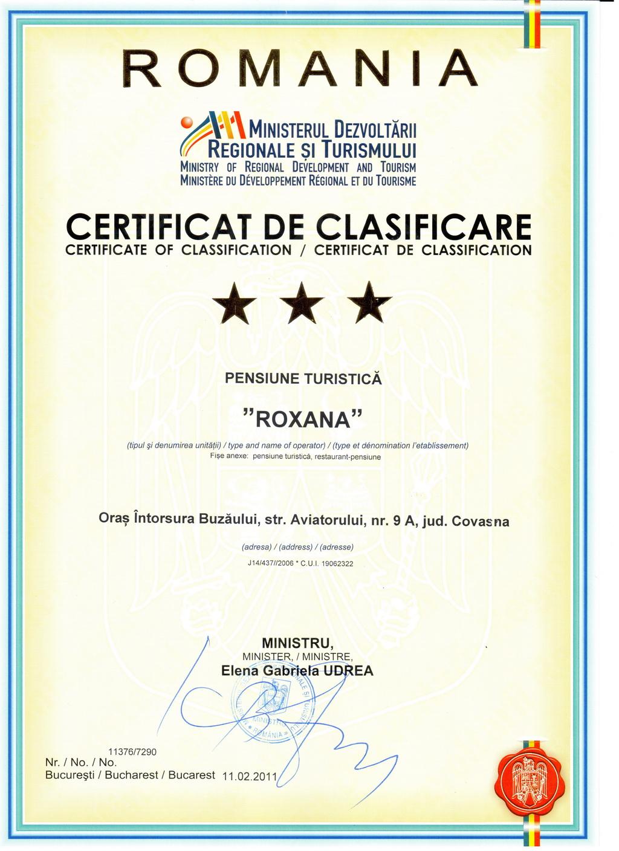 Certificat de clasificare turistica